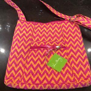 Vera Bradley chevron orange hot pink crossbody bag